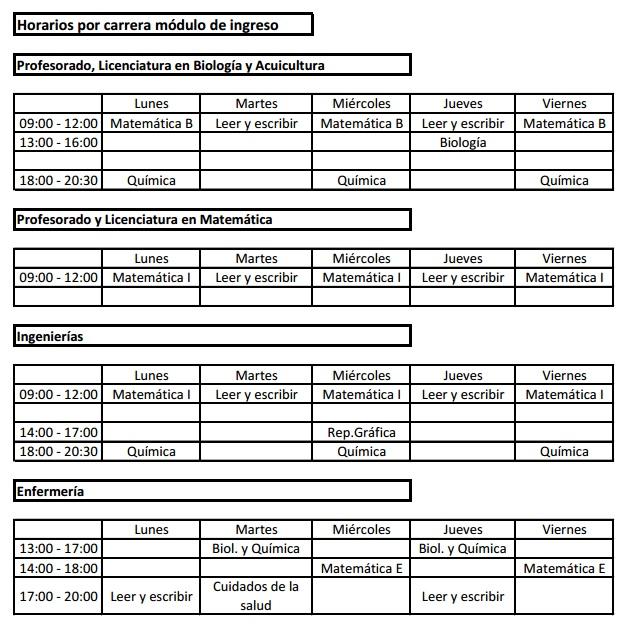 Horario modulo Ingreso 2016